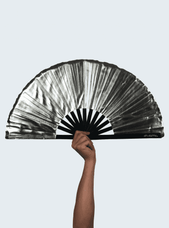 Metallic Silver Fan